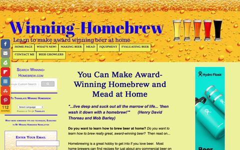 Screenshot of Home Page winning-homebrew.com - Make Award Winning Homebrew and Mead at Home - captured Feb. 19, 2018
