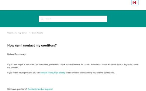 Screenshot of Support Page creditkarma.com - How can I contact my creditors? – Credit Karma Help Center - captured July 2, 2018