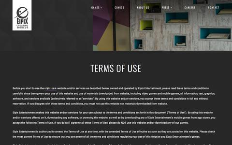 Screenshot of Terms Page eipix.com - Terms of Use | Eipix Entertainment - captured Sept. 21, 2018