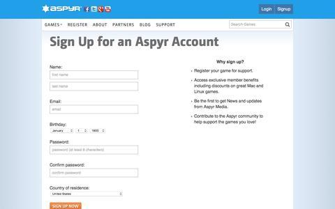 Screenshot of Signup Page aspyr.com - Aspyr - Games, amplified. - captured Oct. 18, 2016