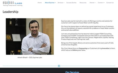 Screenshot of Team Page equinoxlab.com - Leadership – EquinoxLab.com : India's Largest Water, Food, Air Testing Lab with Expertise in FSSAI Compliance - captured Jan. 29, 2016