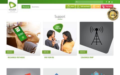 Screenshot of Support Page etisalat.lk - Support – Etisalat Sri Lanka - captured Sept. 29, 2018