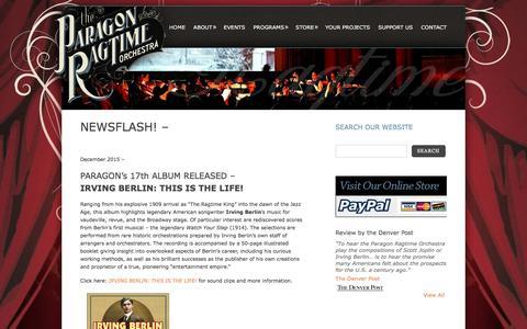 Screenshot of Press Page paragonragtime.com - News | Paragon Ragtime Orchestra - captured July 14, 2017