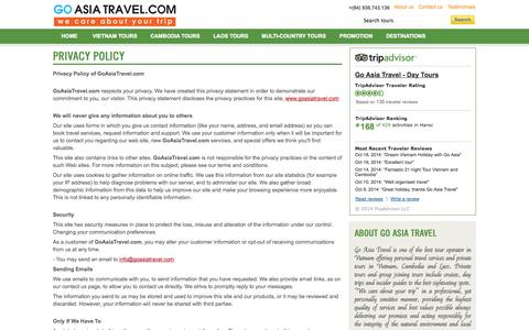 Screenshot of Privacy Page goasiatravel.com - Privacy policy. Vietnam & Indochina tours - captured Oct. 28, 2014