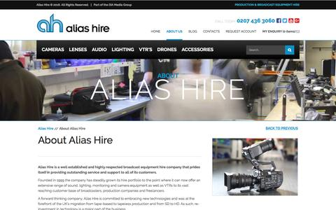 Screenshot of About Page aliashire.co.uk - About Alias Hire - Broadcast Equipment Hire - Rental | Alias Hire - captured July 25, 2016