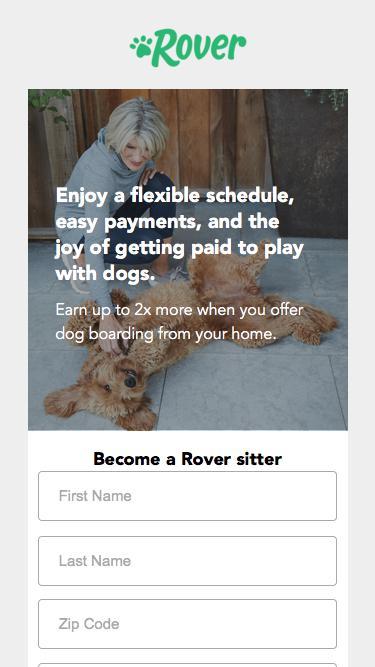 Screenshot of Landing Page  rover.com -
