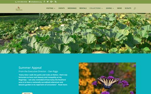 Screenshot of Blog klehm.org - Blog | Klehm Arboretum & Botanic Garden - captured Oct. 17, 2017