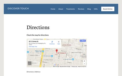Screenshot of Contact Page Maps & Directions Page discovertouch.com - Directions | DiscoverTouch | Massage Therapy | Philadelphia - captured Jan. 7, 2016