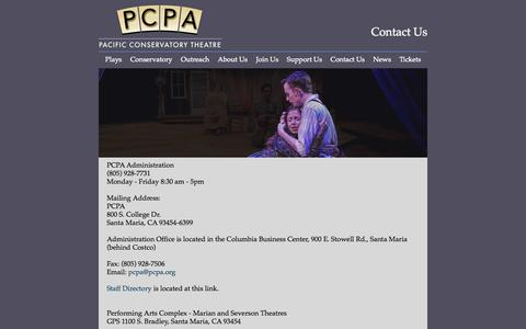 Screenshot of Contact Page pcpa.org - Contact Us - captured Oct. 1, 2014