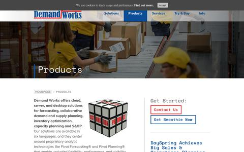 Screenshot of Products Page demandworks.com - Demand Works - Forecasting, Demand & Supply Planning, & S&OP - captured May 11, 2018