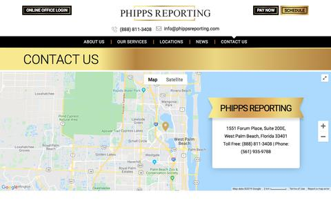 Screenshot of Contact Page phippsreporting.com - Contact Us - Phipps Reporting - captured Dec. 3, 2019