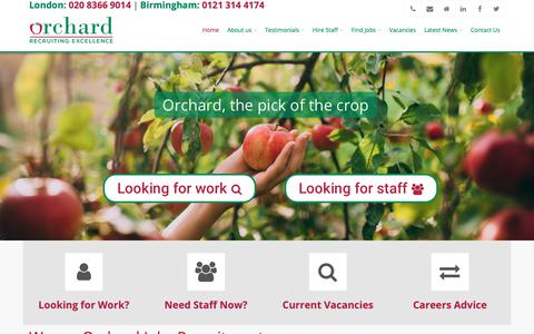 Screenshot of Home Page orchardjobs.com - Orchard Jobs Recruitment Consultants Enfield | Hire The Right People - captured Nov. 16, 2018