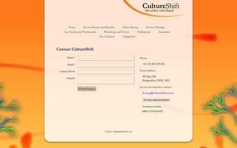Screenshot of Contact Page cultureshift.com.au - Contact CultureShift - captured Oct. 3, 2014