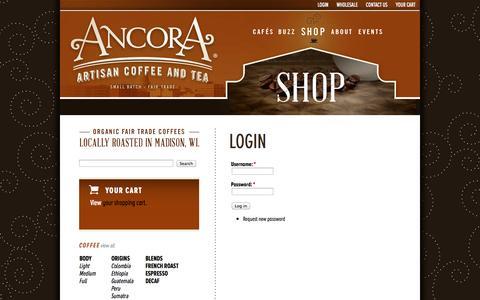 Screenshot of Login Page ancoracoffee.com - login | Ancora Coffee - captured Oct. 4, 2014