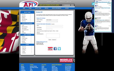 Screenshot of Contact Page athleticperformanceinc.com - Contact API - captured Oct. 4, 2014