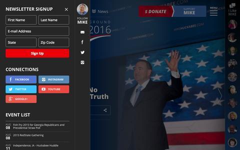 Screenshot of Home Page mikehuckabee.com - Mike Huckabee for President - captured Aug. 6, 2015