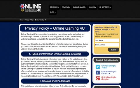 Screenshot of Privacy Page onlinegaming4u.com - Privacy Policy - Online Gaming 4U   OnlineGaming4u - captured Oct. 26, 2014