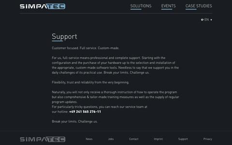 Screenshot of Support Page simpatec.com - Support | Simpatec - captured July 27, 2018