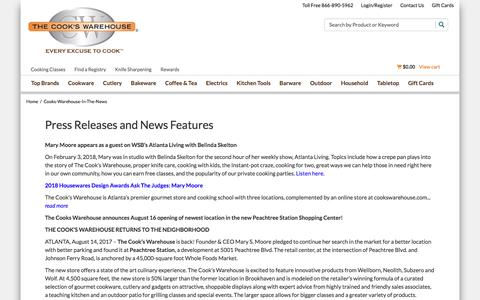 Screenshot of Press Page cookswarehouse.com - The Cook's Warehouse In The News - captured Sept. 24, 2018
