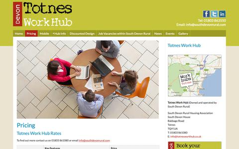 Screenshot of Pricing Page totnesworkhub.co.uk - Totnes Work Hub - captured Oct. 20, 2018