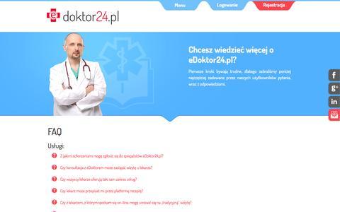 Screenshot of FAQ Page edoktor24.pl - Porady lekarskie online na eDoktor24.pl - konsultacje z lekarzem przez internet - captured Jan. 28, 2016