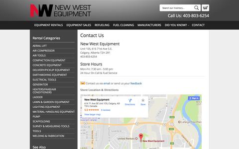 Screenshot of Contact Page newwestequipment.com - How to Contact New West Equipment in Calgary | Hours & Directions to New West Equipment in Calgary AB, Airdrie, Cochrane, Chestermere, Okotoks, Irricana Alberta - captured Nov. 7, 2017