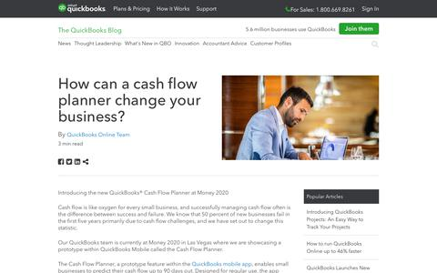 Screenshot of Press Page intuit.com - How can a cash flow planner change your business? - QuickBooks - captured Nov. 21, 2019