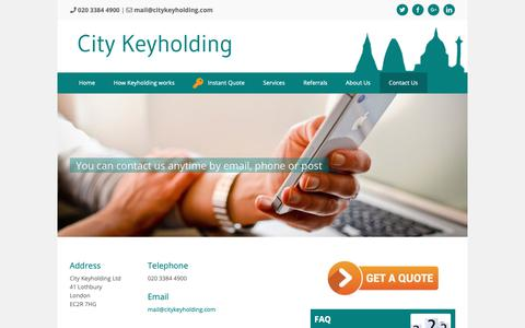 Screenshot of Contact Page citykeyholding.com - Contact Us - City Keyholding - captured Nov. 10, 2018