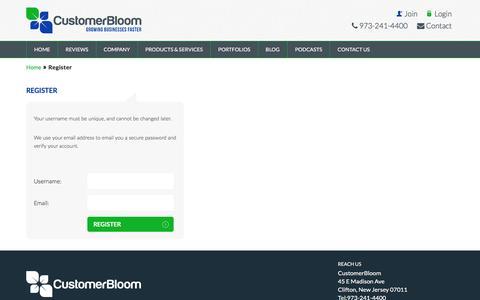 Screenshot of Signup Page customerbloom.com - Register - SEO NJ Company - captured July 17, 2016