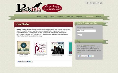 Screenshot of Case Studies Page peckishdesign.com - Case Studies - Peckish Design & Marketing   Peckish Design & Marketing - captured Oct. 2, 2014