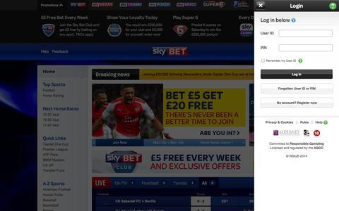 Screenshot of Login Page skybet.com - Sky Bet: Online Betting   Best Odds & Sports Betting Offers   Bet £5 Get A £20 Free Bet - captured Oct. 29, 2014
