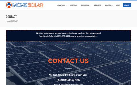 Screenshot of Contact Page moxiesolar.com - Professional Solar Panel Installation & Contractor | Call 855-669-4387 - captured Oct. 20, 2018
