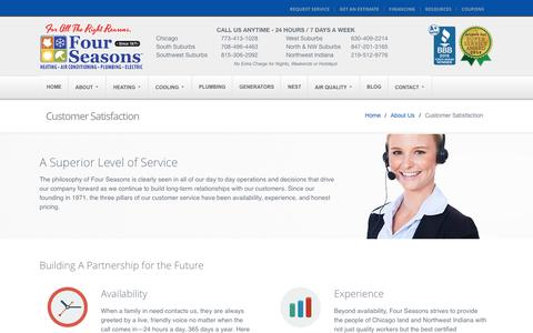 Screenshot of Support Page fourseasonsheatingcooling.com - Customer Satisfaction – Four Seasons Heating and Air Conditioning, Chicago IL. - captured Sept. 9, 2016