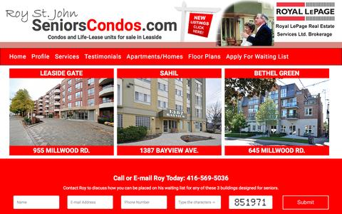 Screenshot of Home Page seniorscondos.com - Seniors Condos - captured Oct. 21, 2016