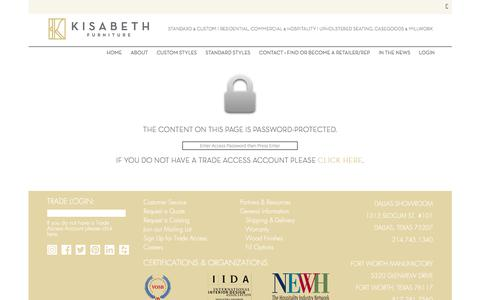 Screenshot of Login Page kisabethfurniture.com - Kisabeth Furniture : Trade Area - captured Sept. 20, 2018
