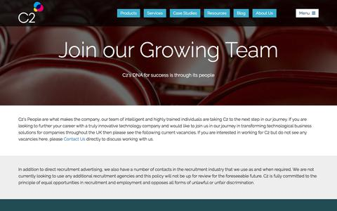 Screenshot of Jobs Page c2software.com - Careers at C2 - Become part of the team - captured July 14, 2018