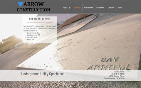 Screenshot of Services Page arrowcon.com - arrowconstruction | Services - captured Oct. 8, 2017