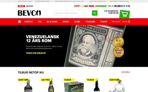 Screenshot of Home Page bevco.dk - Køb drikkevarer & alkohol online   Danmark's største udvalg - captured Jan. 19, 2016