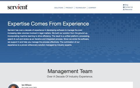 Screenshot of About Page servient.com - About - Servient - captured Oct. 18, 2018
