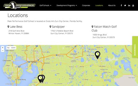 Screenshot of Locations Page peakperformancegolf.us - Locations - captured July 11, 2016