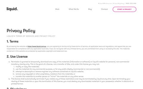 Screenshot of Privacy Page liquid.com.au - Privacy Policy - captured May 31, 2018