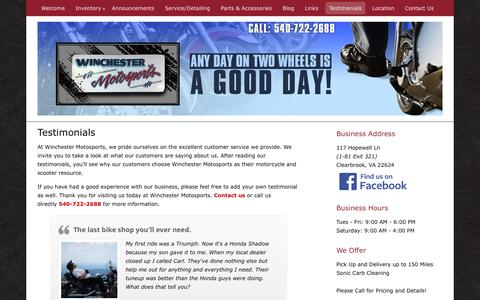 Screenshot of Testimonials Page winchestermotosports.com - Read Testimonials from our Clearbrook, VA Customers - captured May 26, 2016