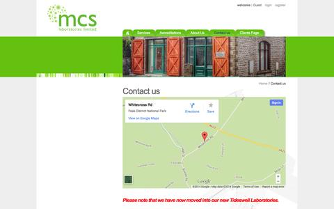 Screenshot of Contact Page mcs.uk.net - Contact us - MCS Laboratories Limited - captured Oct. 4, 2014