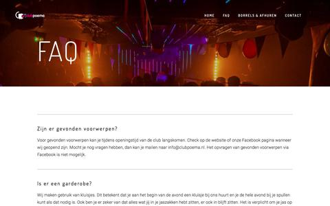 Screenshot of FAQ Page clubpoema.nl - FAQ — Club Poema - captured July 10, 2019