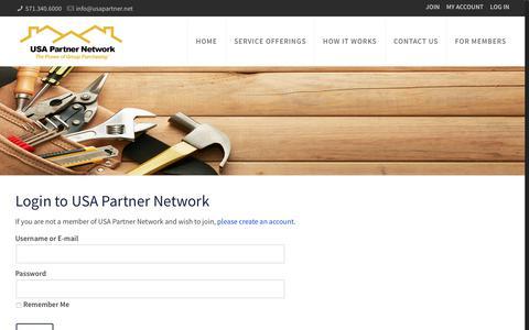 Screenshot of Login Page usapartner.net - Login - USA Partner Network - captured Sept. 30, 2017