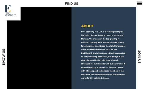 Screenshot of About Page firsteconomy.com - About Us | First Economy : Digital Marketing & Social Media Agency - captured March 5, 2016