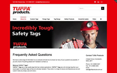 Screenshot of FAQ Page tuffaproducts.com.au - Frequently Asked Questions - captured Aug. 4, 2015