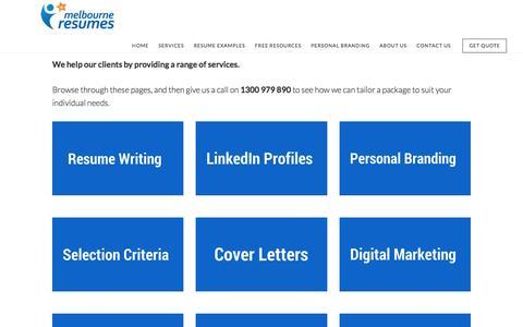 Screenshot of Services Page melbourneresumes.com.au - Resume Services |Professional Resume Writing Services - captured Nov. 28, 2016