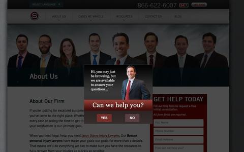 Screenshot of About Page stoneinjurylawyers.com - About Our Firm - Jason Stone Injury Lawyers - captured Feb. 11, 2016