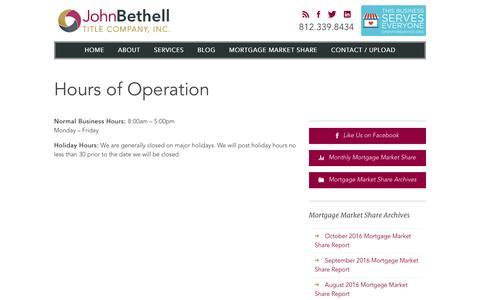 Screenshot of Hours Page johnbtitle.com - Hours of Operation - John Bethell Title Company - captured Nov. 27, 2016